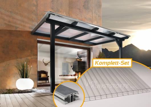 Komplettset Doppelstegplatten Alu/Alu 3-Fach farblos
