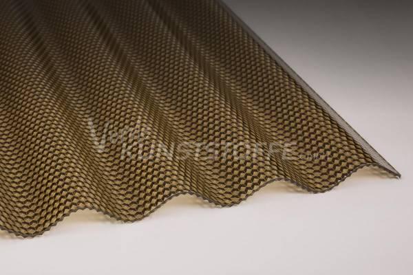 Komplettset Polycarbonat Wellplatten 76/18 bronze Wabe