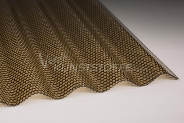 Polycarbonat Wellplatten 76/18 bronze Wabenstruktur hagelsicher